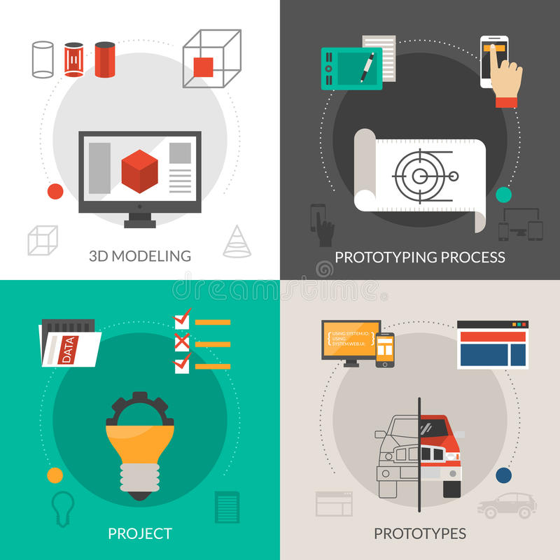 Prototyping And Modeling Set. Prototyping and modeling design concept set with 3d project icons vector illustration vector illustration