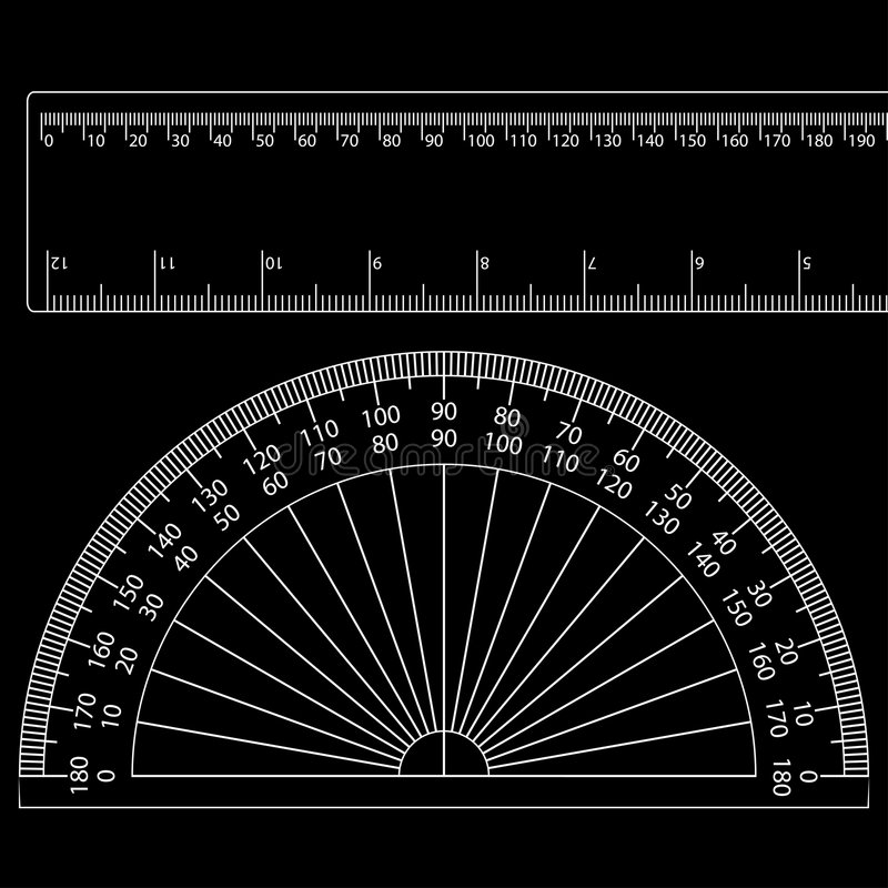 Protractor+ruler vector illustratie