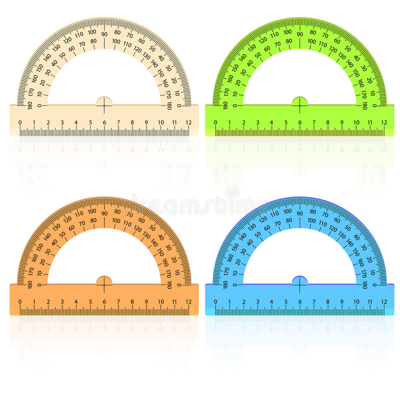 Protractor ruler on a white background. royalty free illustration