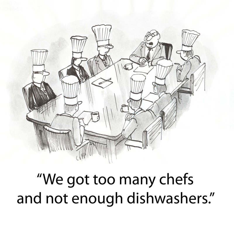 Protuberancia con los cocineros stock de ilustración