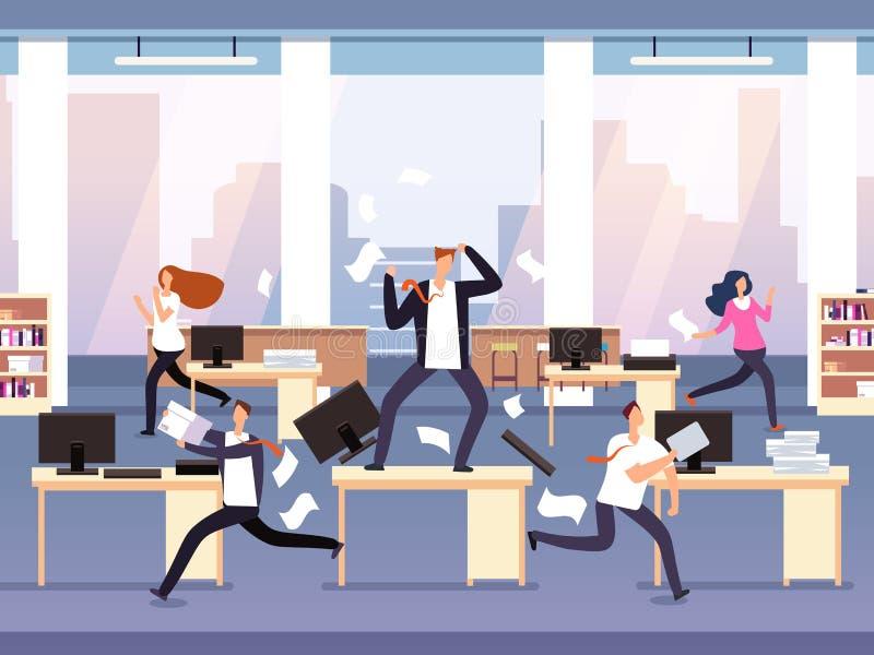 Protuberancia enojada Caos en oficina con los empleados en pánico Hombre de negocios en concepto del vector de la tensión y del p stock de ilustración