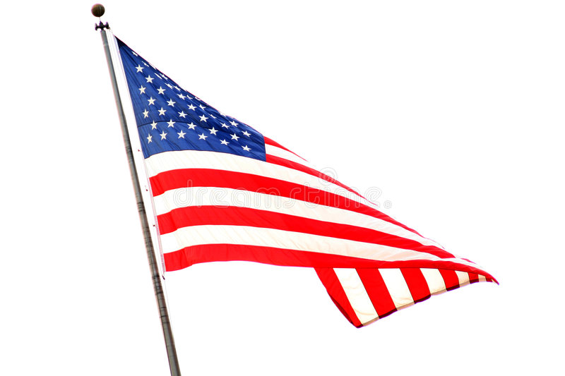 Proud American flag. The American flag waving proudly in the wind royalty free stock photo