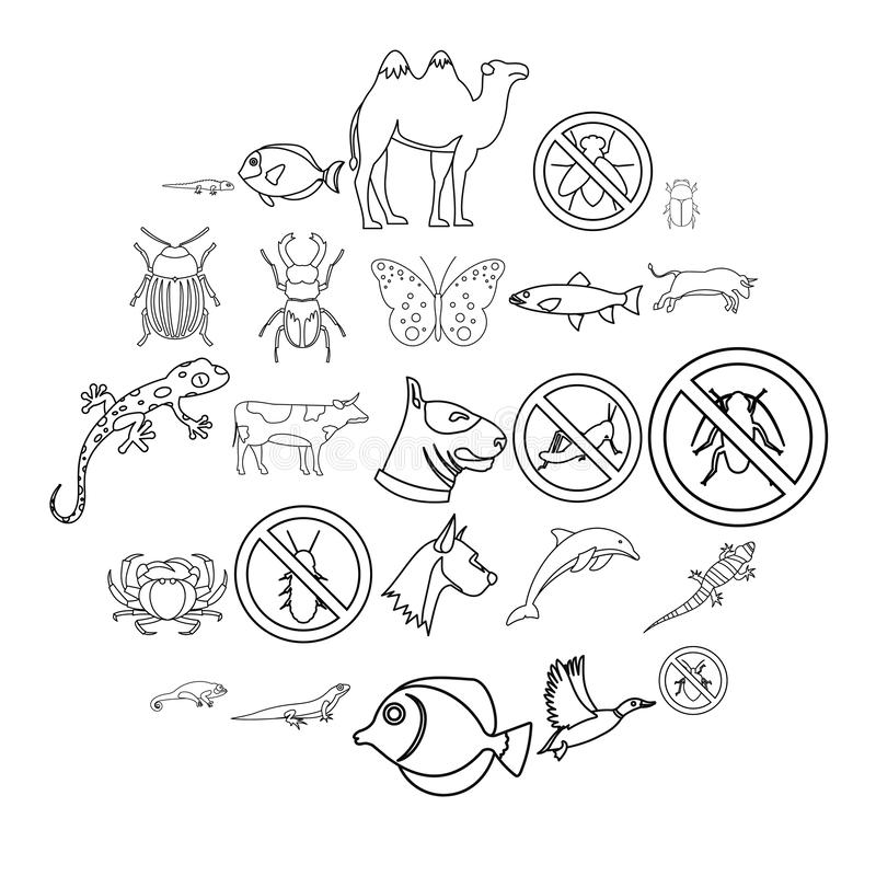 Proud animal icons set, outline style. Proud animal icons set. Outline set of 25 proud animal vector icons for web isolated on white background stock illustration