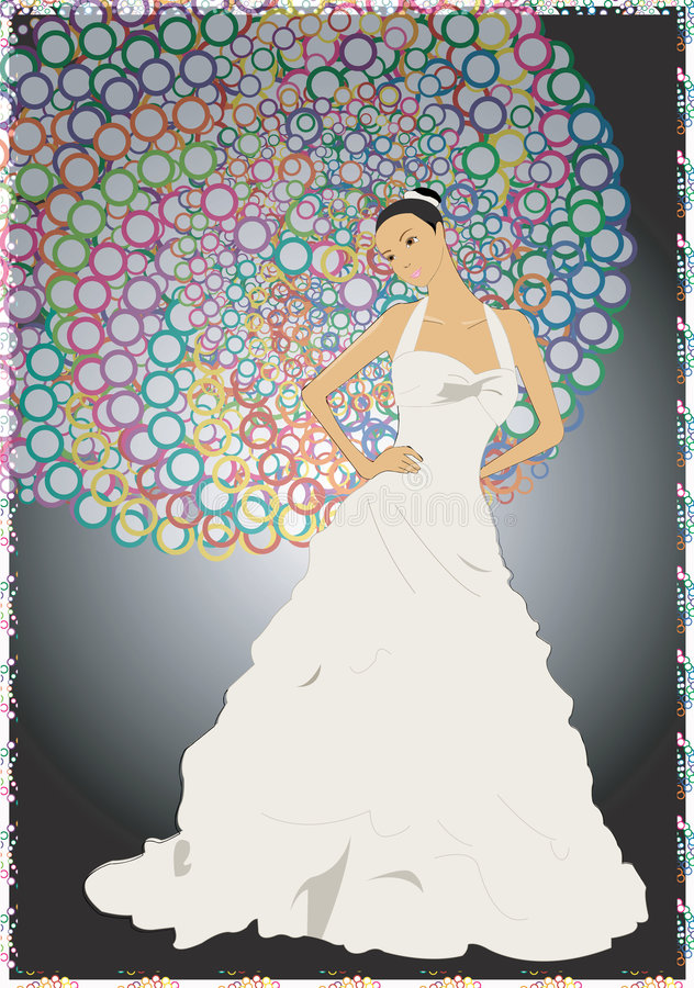 Proud as a peacock. Woman proud in her wedding dress stock illustration