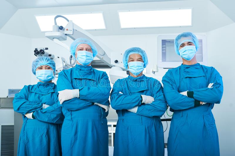 Proud of being surgeons stock image