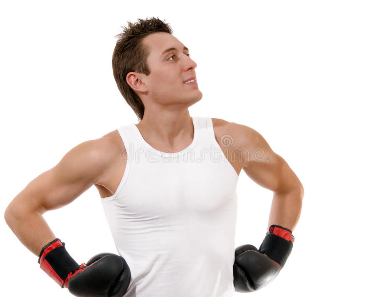 Proud Boxer With Boxing Gloves After Fight Royalty Free Stock Photos
