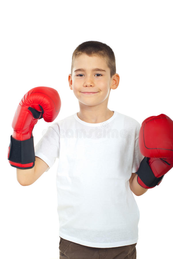 Proud boy with boxing gloves royalty free stock photos