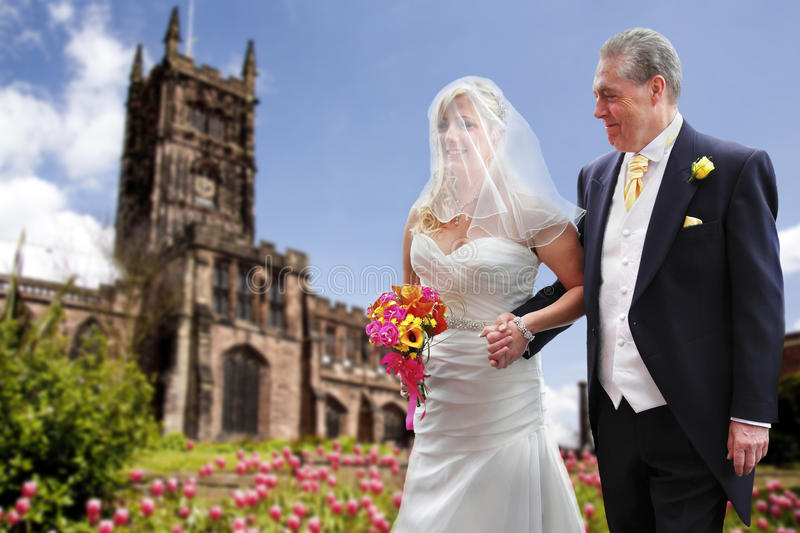 Proud father and bride royalty free stock images