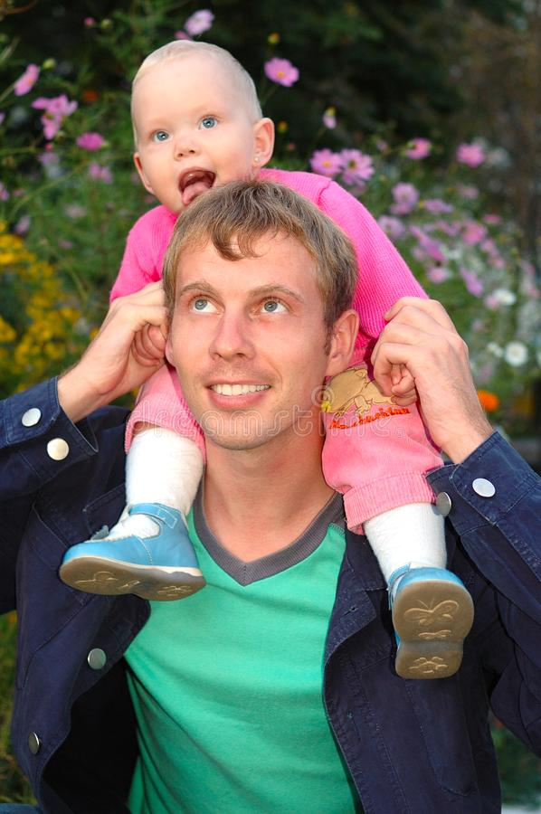 Proud father with daughter. royalty free stock photography