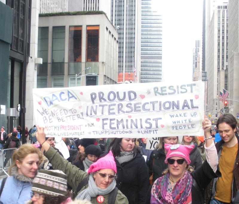 Proud Feminists, Intersectional Feminism, Women`s March, Midtown, Manhattan, NYC, NY, USA royalty free stock photo