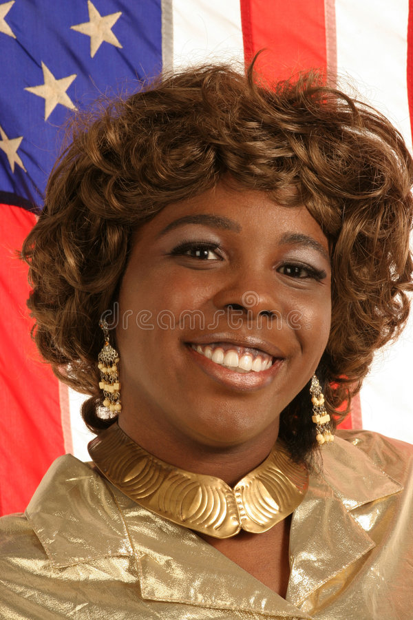 Proud girl with American flag royalty free stock photography