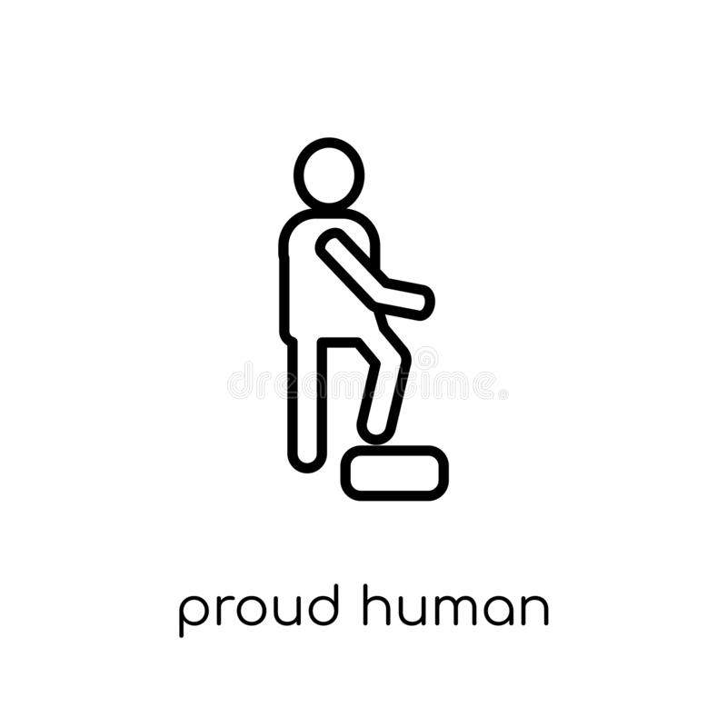 proud human icon. Trendy modern flat linear vector proud human i stock illustration