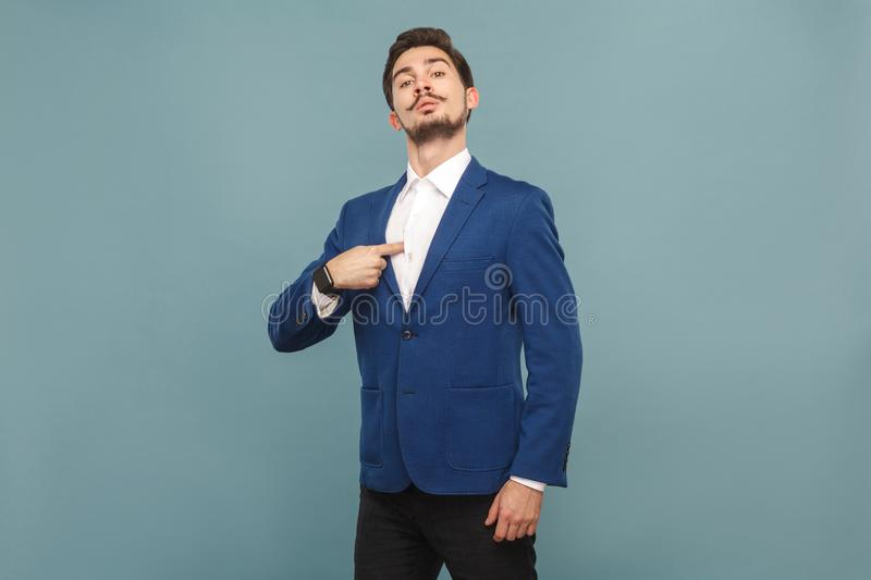 Proud man pointing finger himself royalty free stock photography