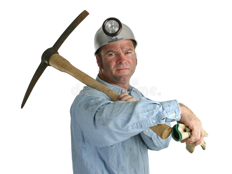 Proud Miner. A proud coal miner with this gloves and pick-ax