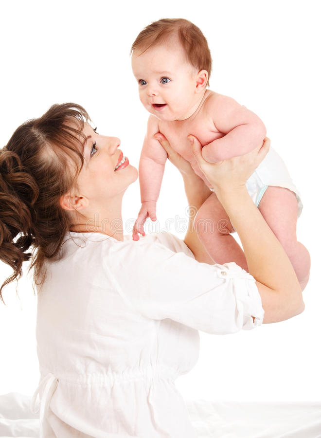 Proud mother and her baby stock images