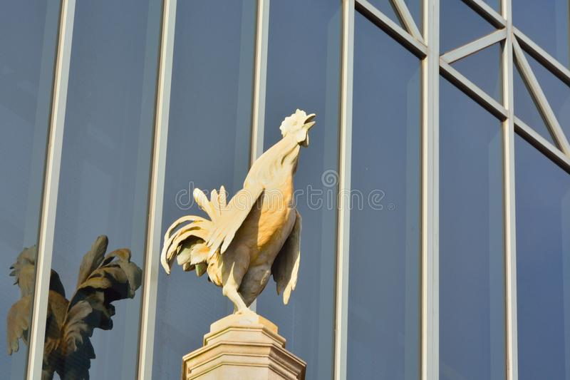 Proud rooster on a pedestal. Statue of a proud rooster on a pedestal in front of a huge window stock images