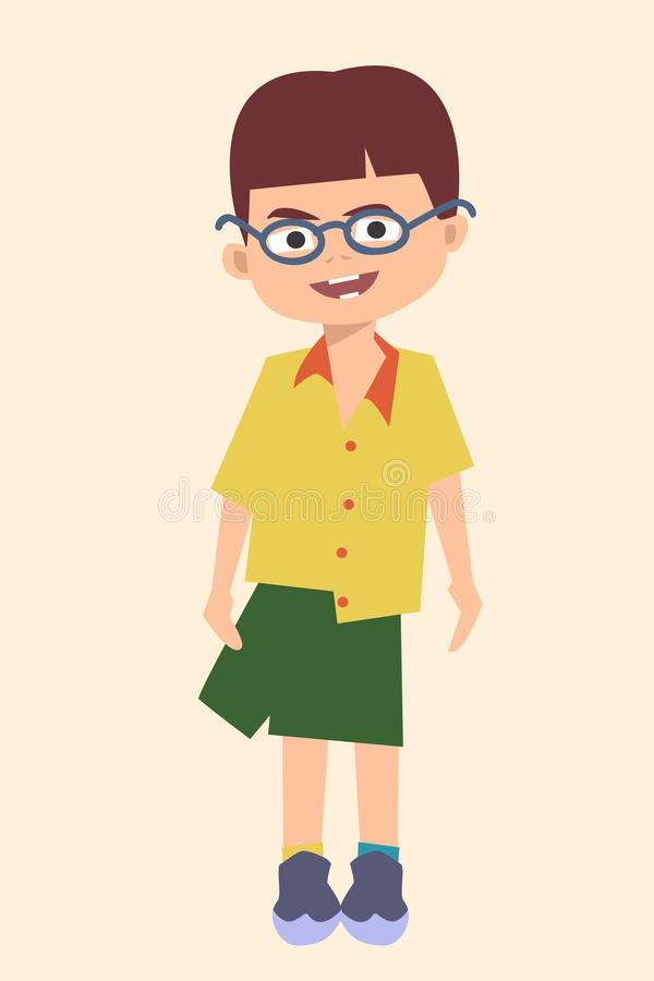 Proud self-dressed toddler vector cartoon. Proud self-dressed toddler - funny vector cartoon illustration of self-contained child royalty free illustration