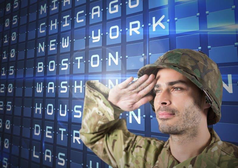 Proud soldier saluting against flights posting vector illustration