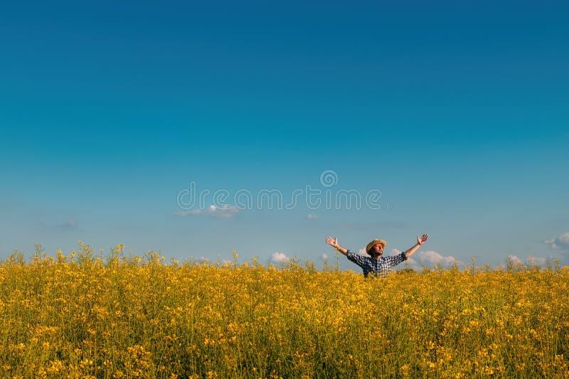 Proud successful rapeseed farmer in blooming field stock photo