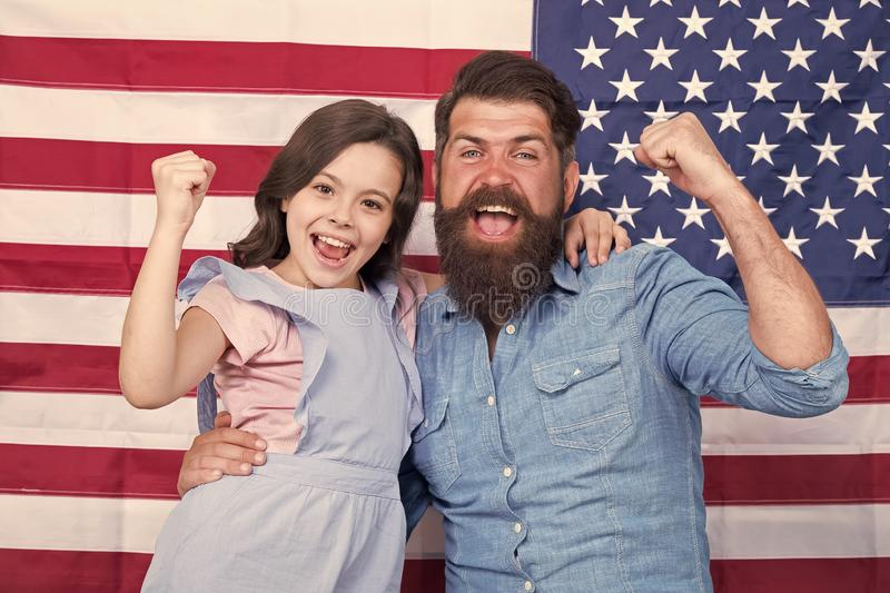 Proud to be americans. Happy american family celebrating Independence day. Bearded man and little child with winner. Proud to be americans. Happy american family stock image