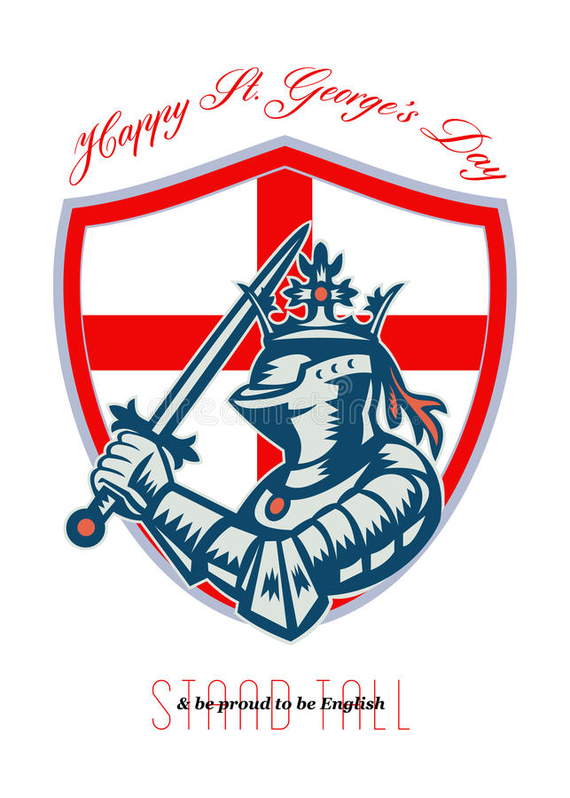 Download Proud To Be English Happy St George Day Shield Card Stock Illustration - Image: 37850005