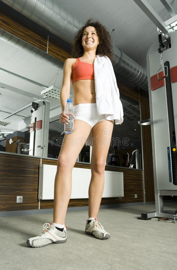 Proud woman in gym royalty free stock photos