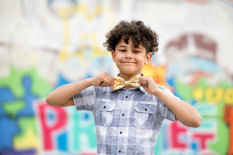 Proud young boy with a beaming smile royalty free stock image