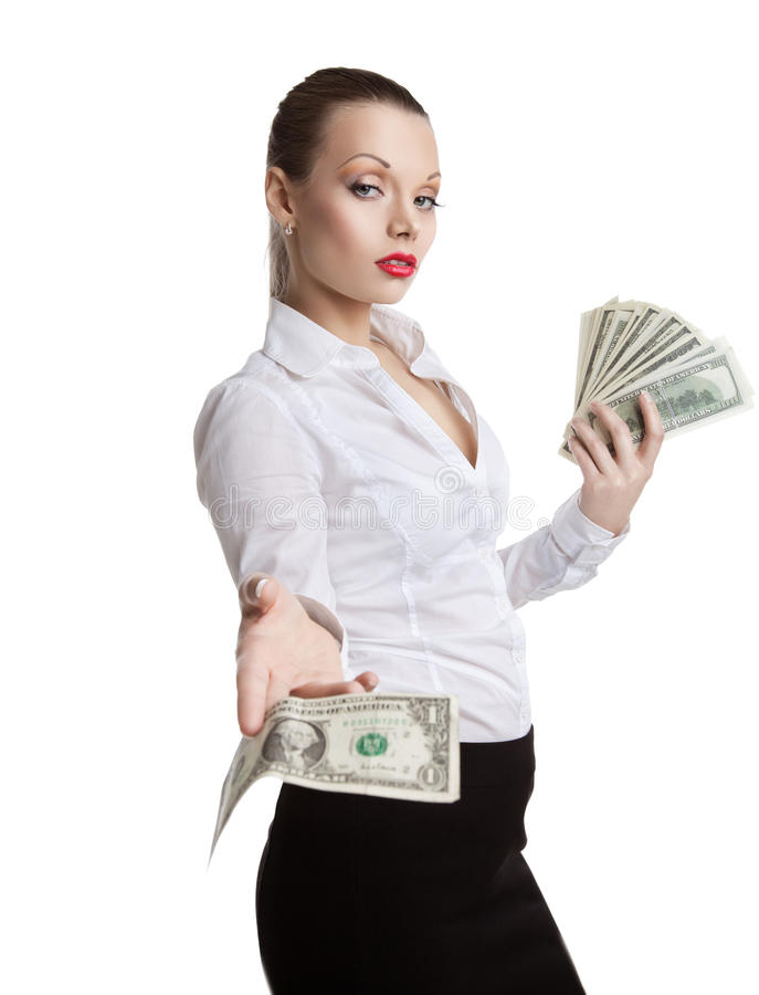 Download Proud Young Business Woman Take All Money Stock Image - Image: 22565725