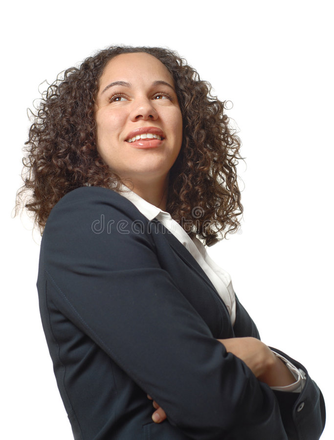 Proud young businesswoman stock image