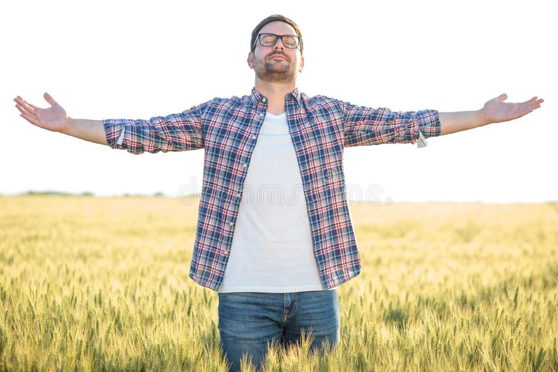 Proud young millennial farmer standing in wheat field with arms outstretched stock photography