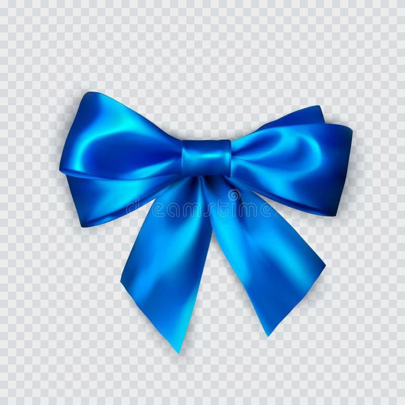 Proue bleue Arc en soie réaliste Décoration pour les cadeaux et l'arc bleu de emballage Vecteur illustration de vecteur