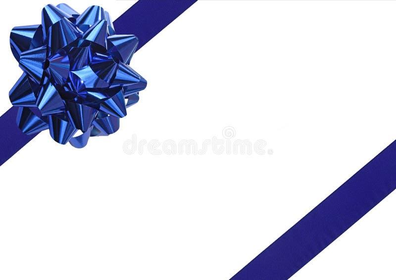 Proue bleue d'emballage de cadeau images stock