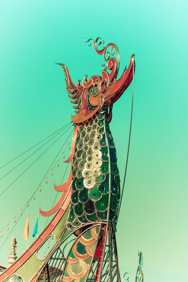 Proue de la péniche de l'empereur, chaingrai, Thaïlande photos stock