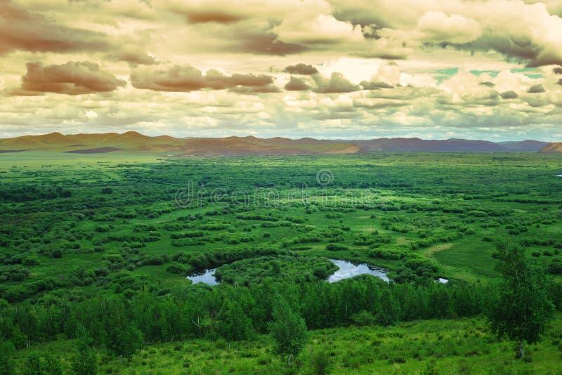Província do pantanal do Gen, Mongolia, China imagem de stock