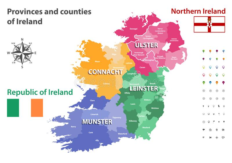 Províncias e condados do mapa do vetor da Irlanda ilustração stock