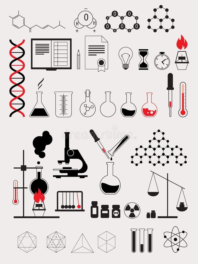 Prov för alkemivetenskapslabb, uppsättning för konturvektorsymbol royaltyfri illustrationer