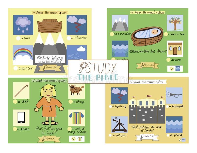 Prov för 4 bibel för ungar vektor illustrationer