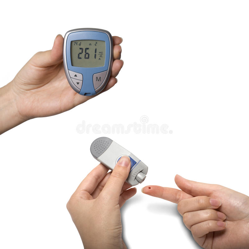 Prova del diabetico della medicina di Glucometer immagine stock libera da diritti