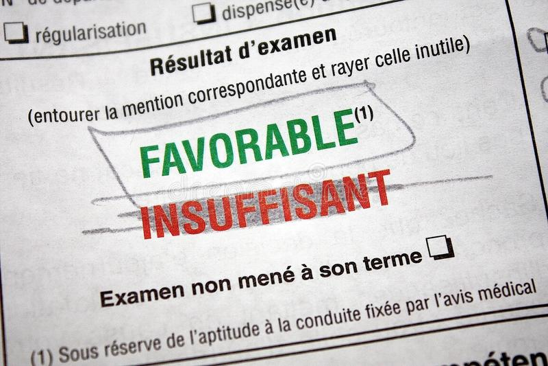 Prova dell'autorizzazione di driver passata (francesi) immagini stock