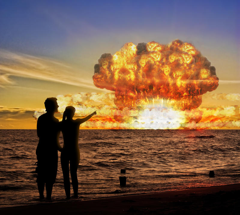 Prova Della Bomba Nucleare Sull Oceano Immagine Stock