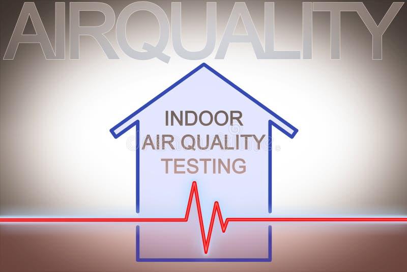 Prova di qualità dell'aria negli ambienti chiusi - immagine di concetto con il grafico del controllo generale circa gli agenti in royalty illustrazione gratis