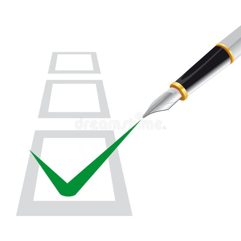 prova di scelta multipla con la penna royalty illustrazione gratis