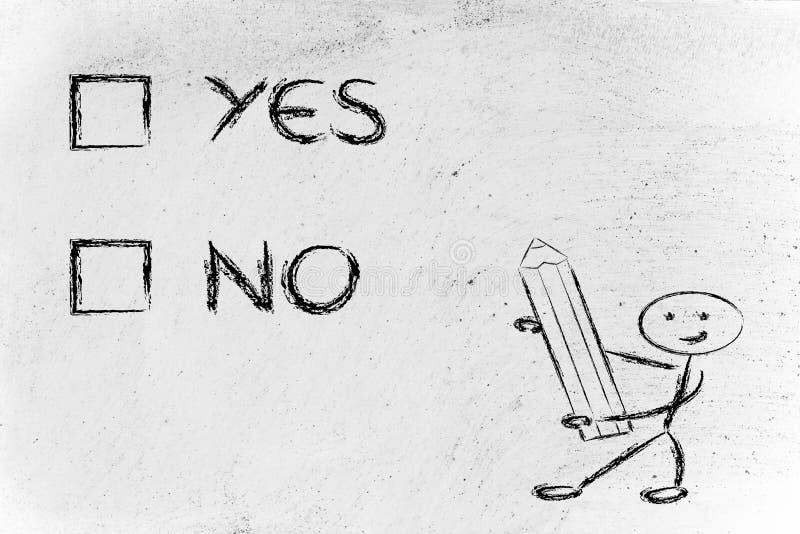 Prova di scelta multipla, sì o no royalty illustrazione gratis