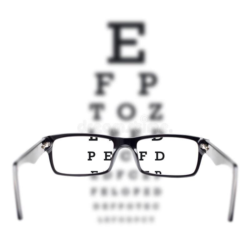 Prova di vista veduta attraverso i vetri dell'occhio fotografia stock libera da diritti