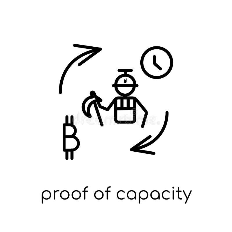 Prova do ícone da capacidade Prova linear lisa moderna na moda o do vetor ilustração stock