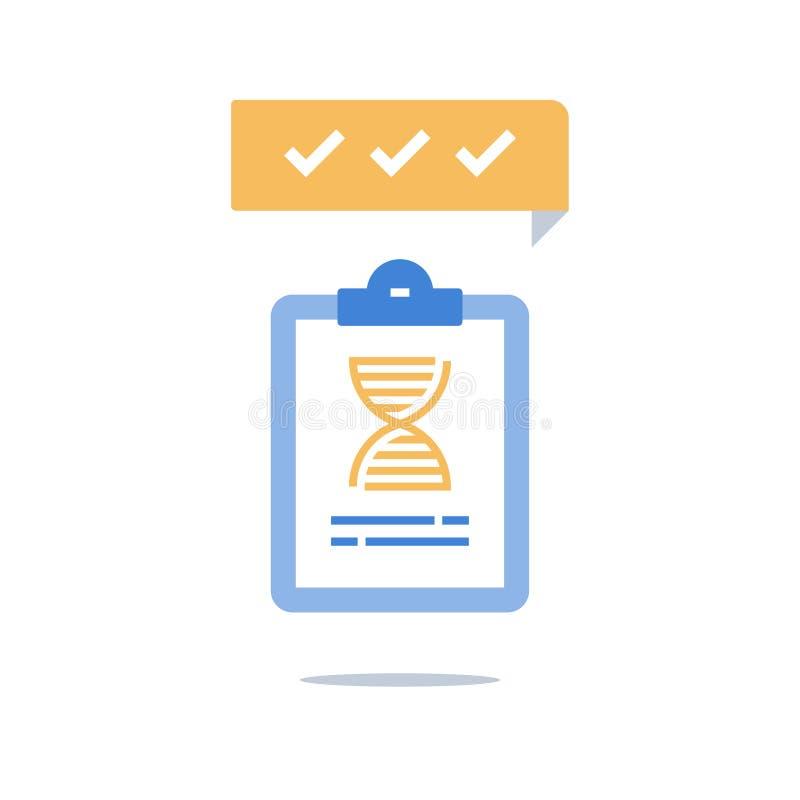 Prova genetica, spirale del DNA, servizi medici, analisi e diagnosi illustrazione di stock