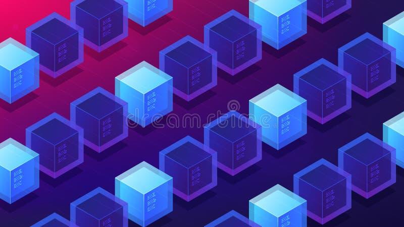 Prova isométrica da mineração do blockchain do conceito da página da aterrissagem do trabalho ilustração royalty free