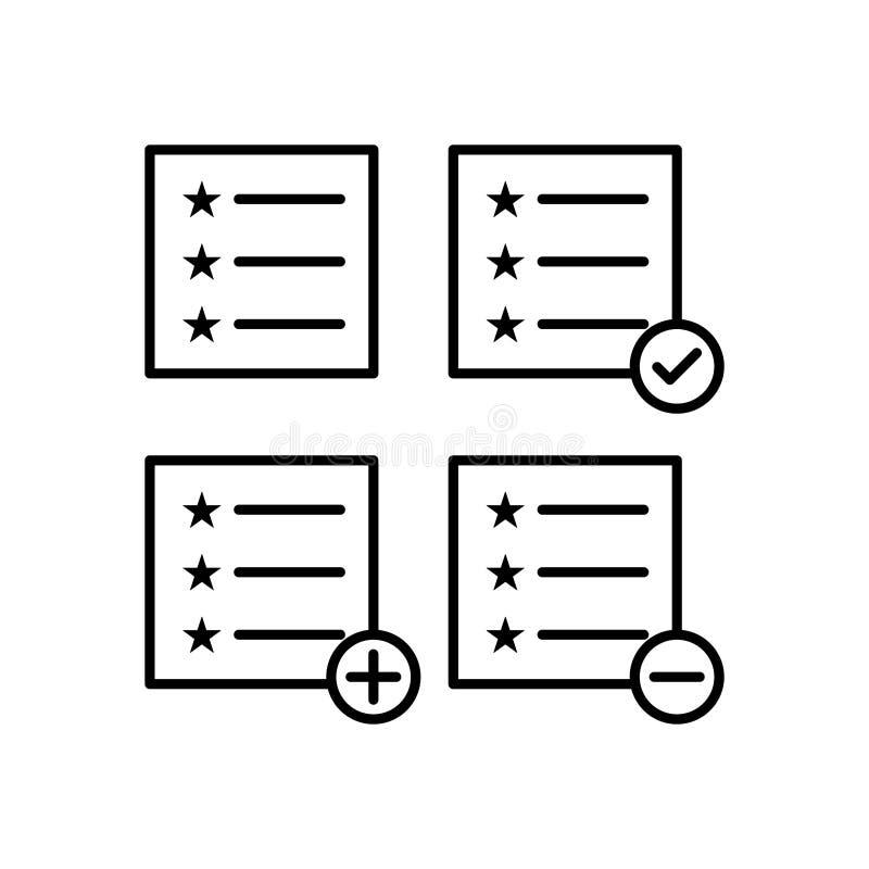 prova, lista, più, controllo, icone del segno meno Elemento delle icone del bottone del profilo Linea sottile icona per progettaz royalty illustrazione gratis