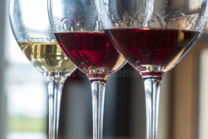 Provando um voo de três vinhos fotos de stock royalty free