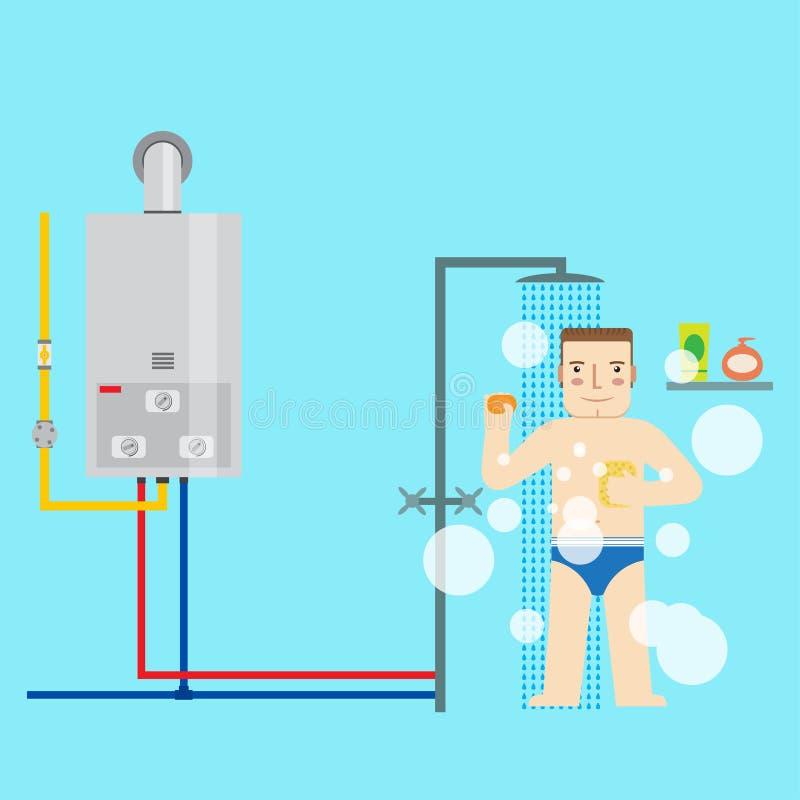 Provea de gas el calentador y al hombre de agua en el cuarto de baño que toma una ducha I plano libre illustration